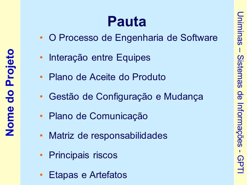 Pauta O Processo de Engenharia de Software Interação entre Equipes