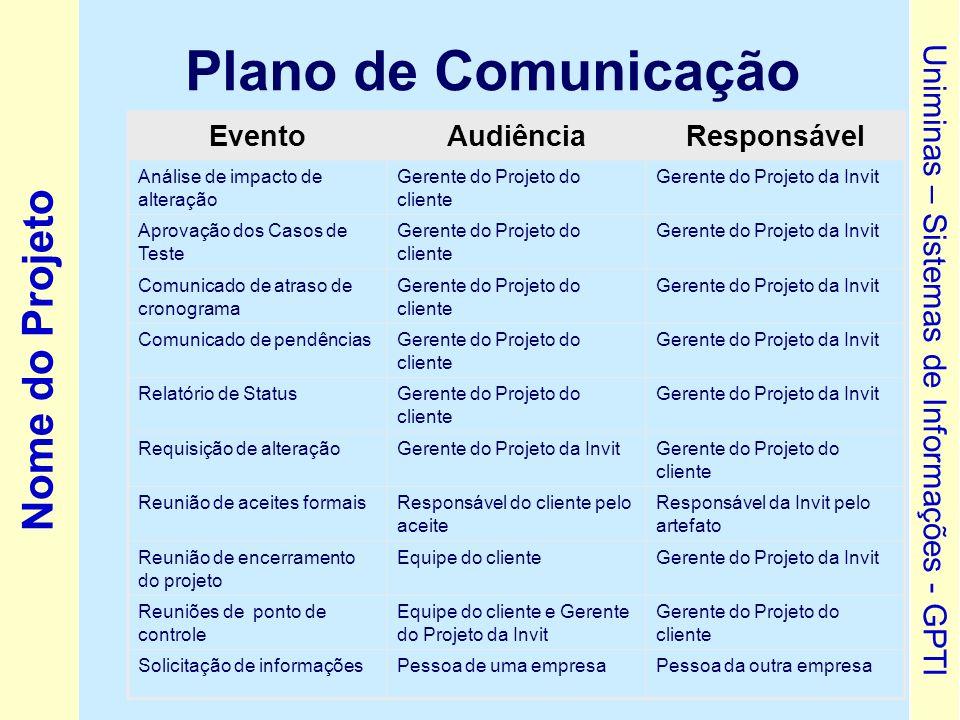 Plano de Comunicação Evento Audiência Responsável