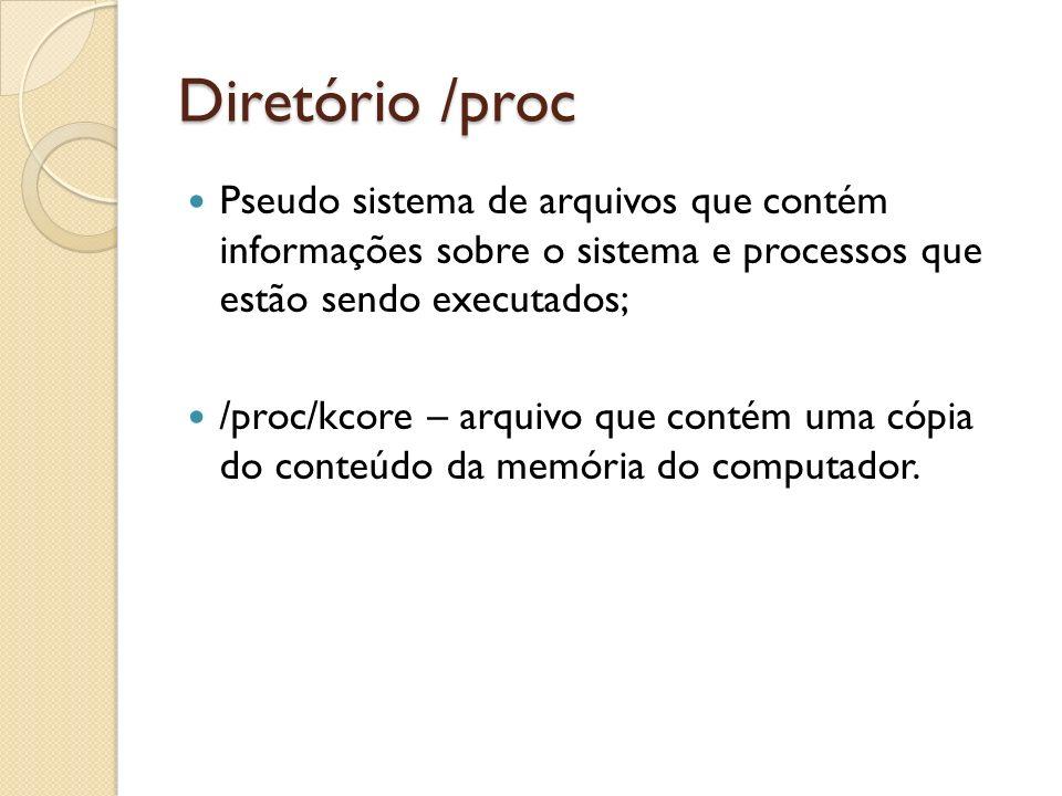 Diretório /proc Pseudo sistema de arquivos que contém informações sobre o sistema e processos que estão sendo executados;