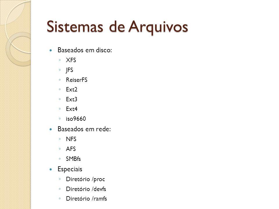 Sistemas de Arquivos Baseados em disco: Baseados em rede: Especiais