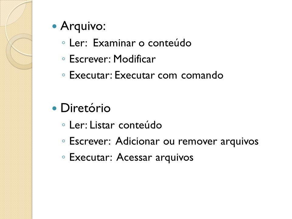 Arquivo: Diretório Ler: Examinar o conteúdo Escrever: Modificar