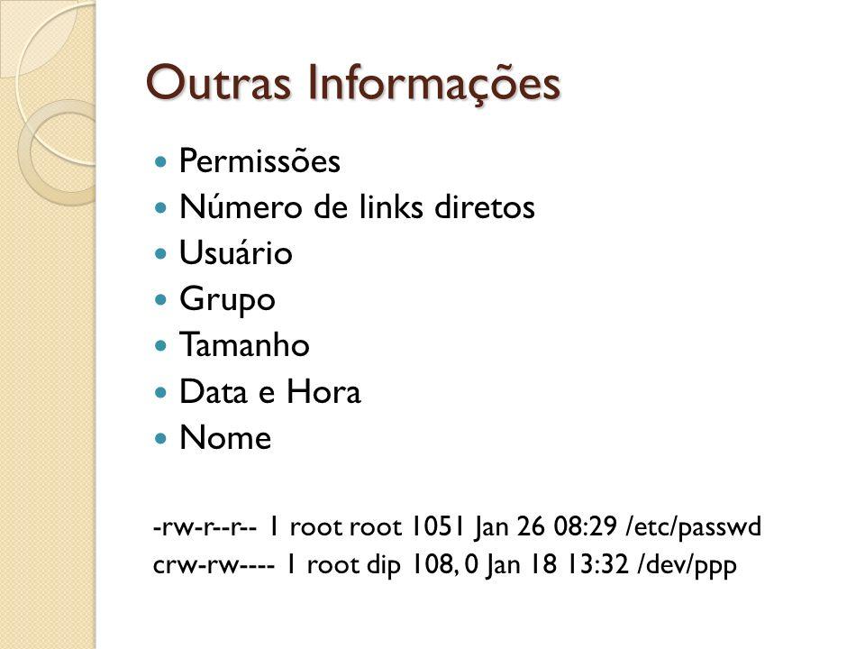 Outras Informações Permissões Número de links diretos Usuário Grupo