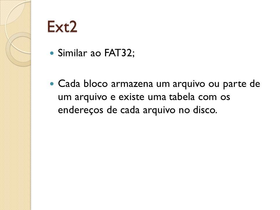 Ext2 Similar ao FAT32; Cada bloco armazena um arquivo ou parte de um arquivo e existe uma tabela com os endereços de cada arquivo no disco.