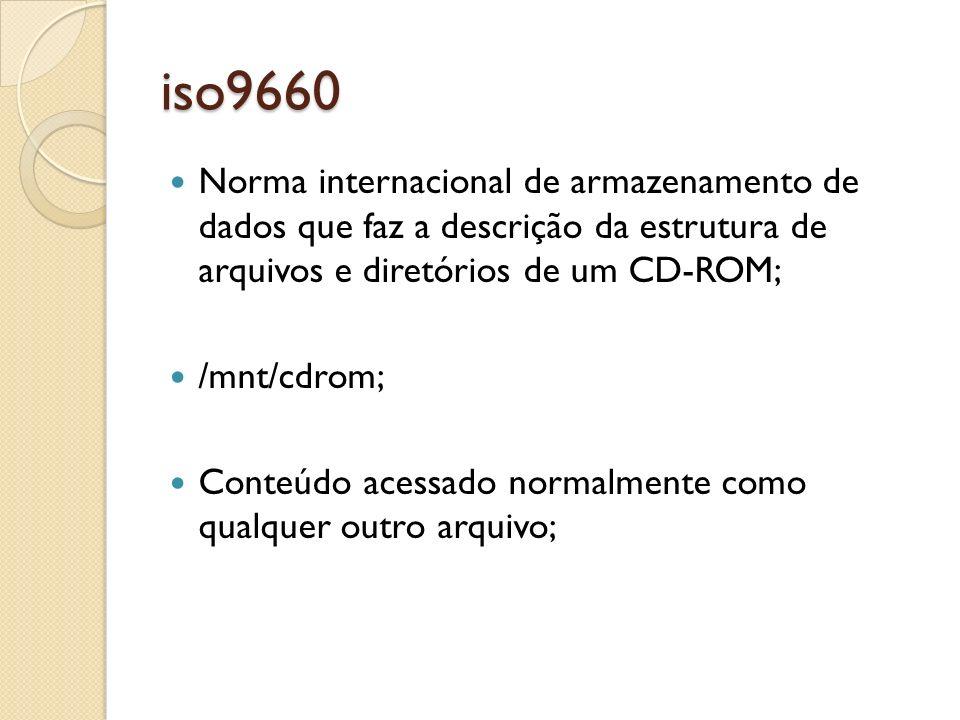 iso9660 Norma internacional de armazenamento de dados que faz a descrição da estrutura de arquivos e diretórios de um CD-ROM;