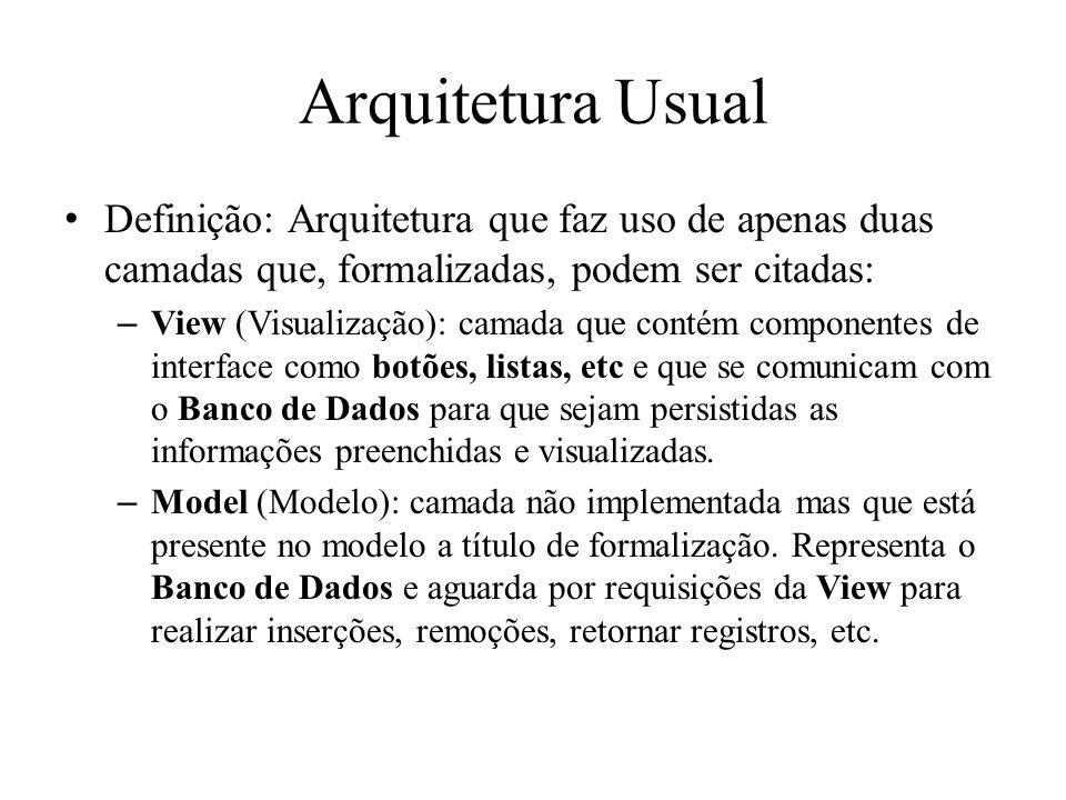 Arquitetura Usual Definição: Arquitetura que faz uso de apenas duas camadas que, formalizadas, podem ser citadas:
