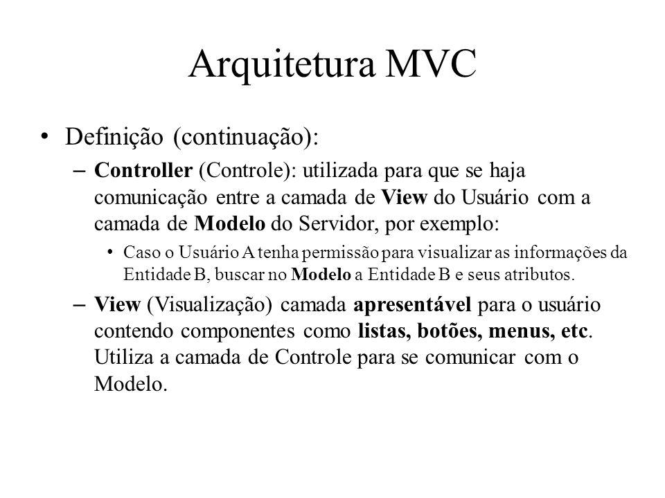 Arquitetura MVC Definição (continuação):