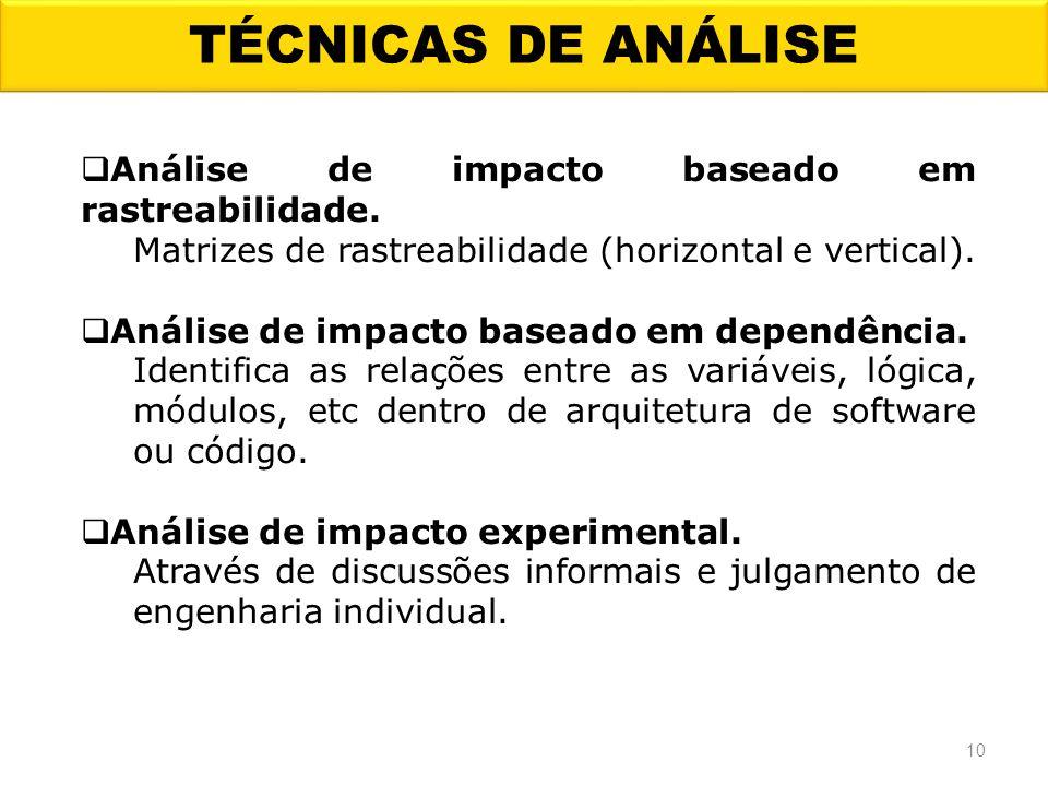 TÉCNICAS DE ANÁLISE Análise de impacto baseado em rastreabilidade.