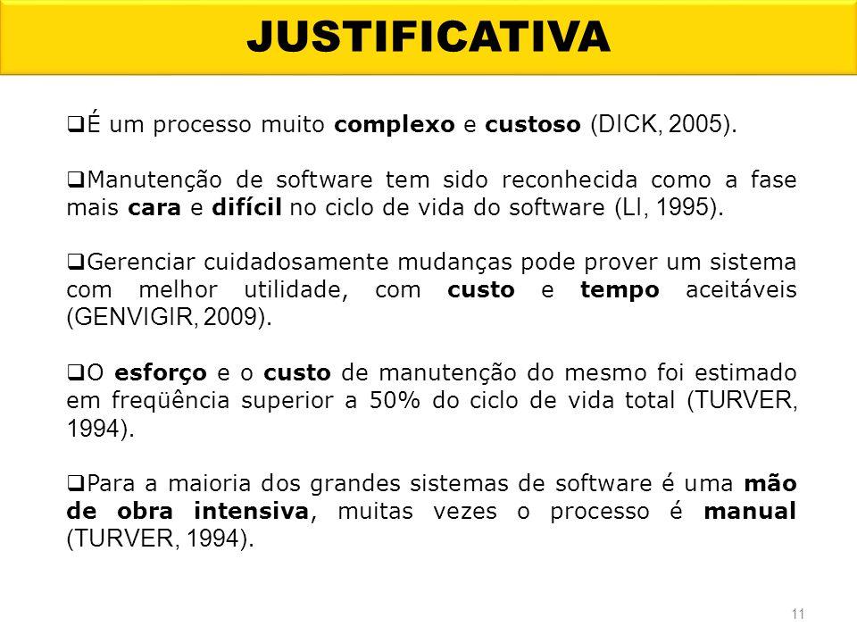 JUSTIFICATIVA É um processo muito complexo e custoso (DICK, 2005).