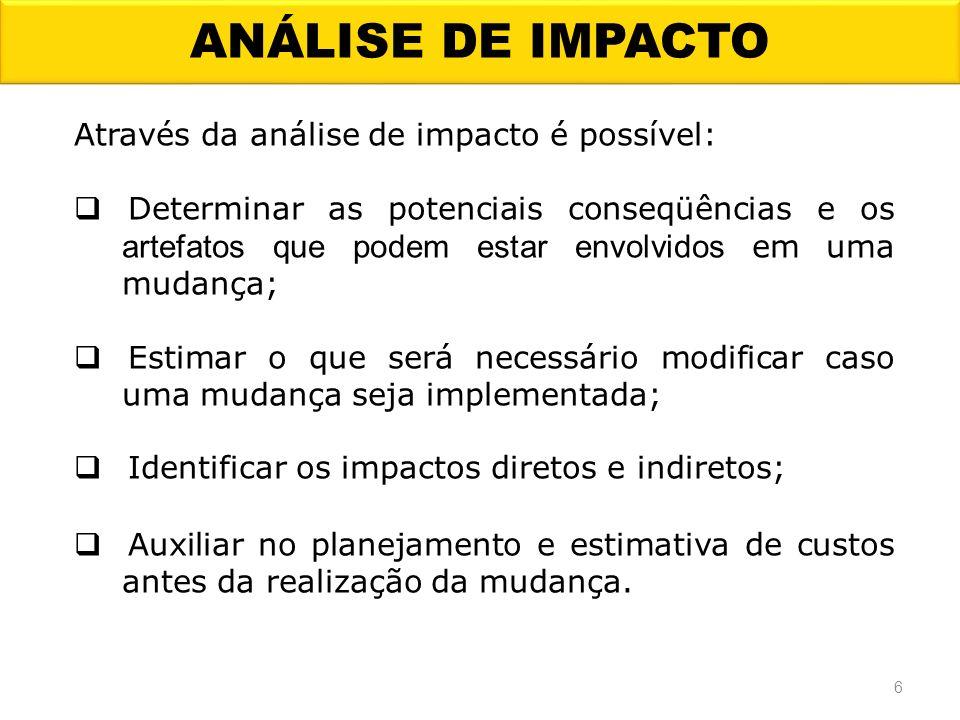 ANÁLISE DE IMPACTO Através da análise de impacto é possível: