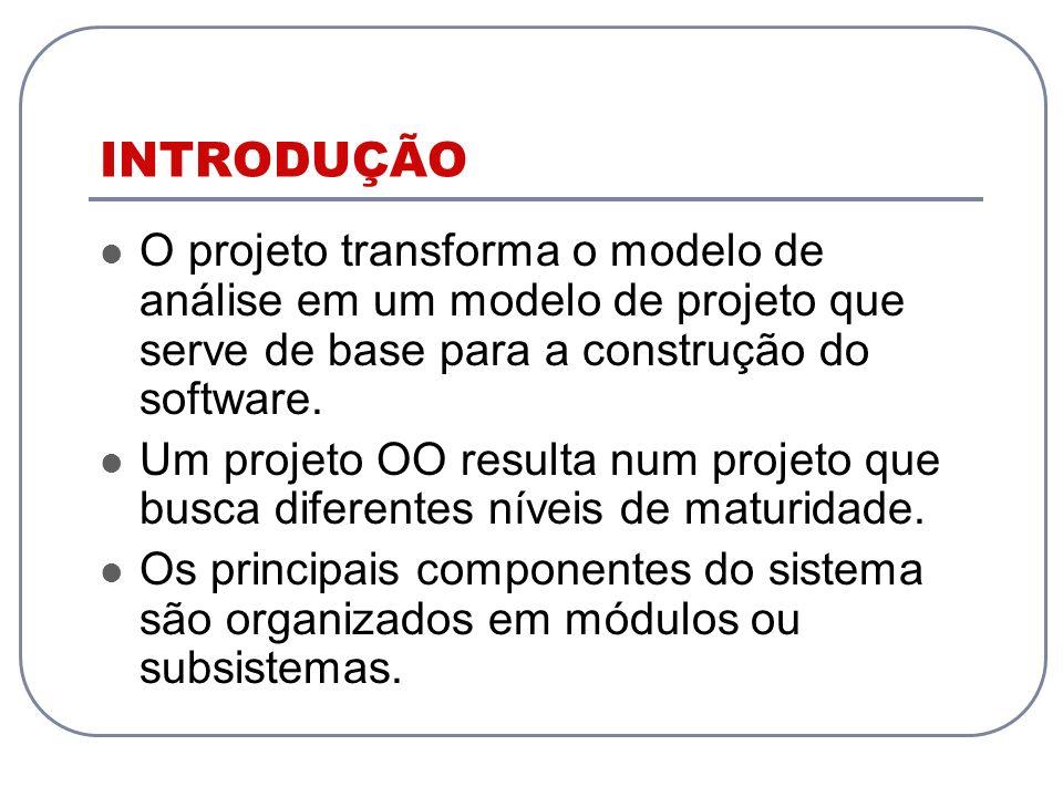 INTRODUÇÃO O projeto transforma o modelo de análise em um modelo de projeto que serve de base para a construção do software.