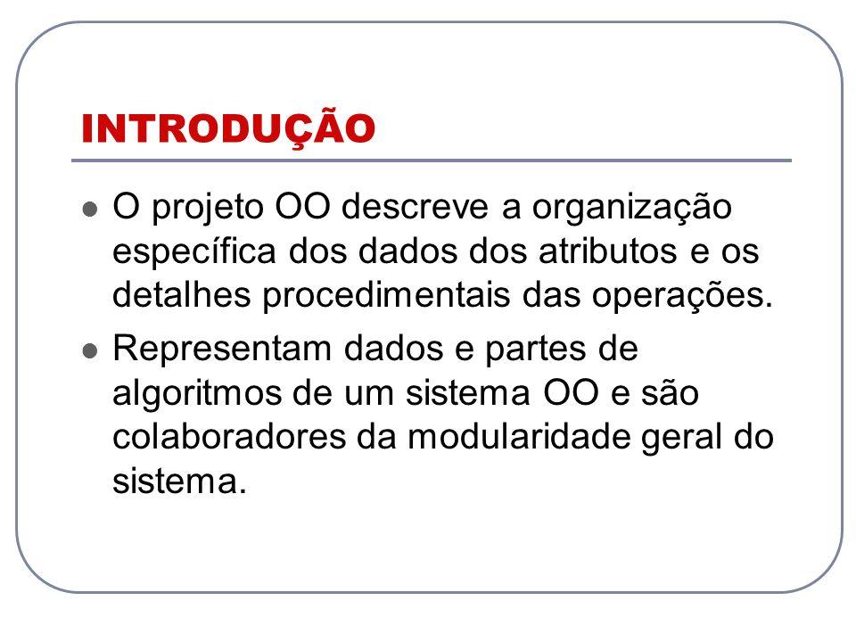 INTRODUÇÃOO projeto OO descreve a organização específica dos dados dos atributos e os detalhes procedimentais das operações.
