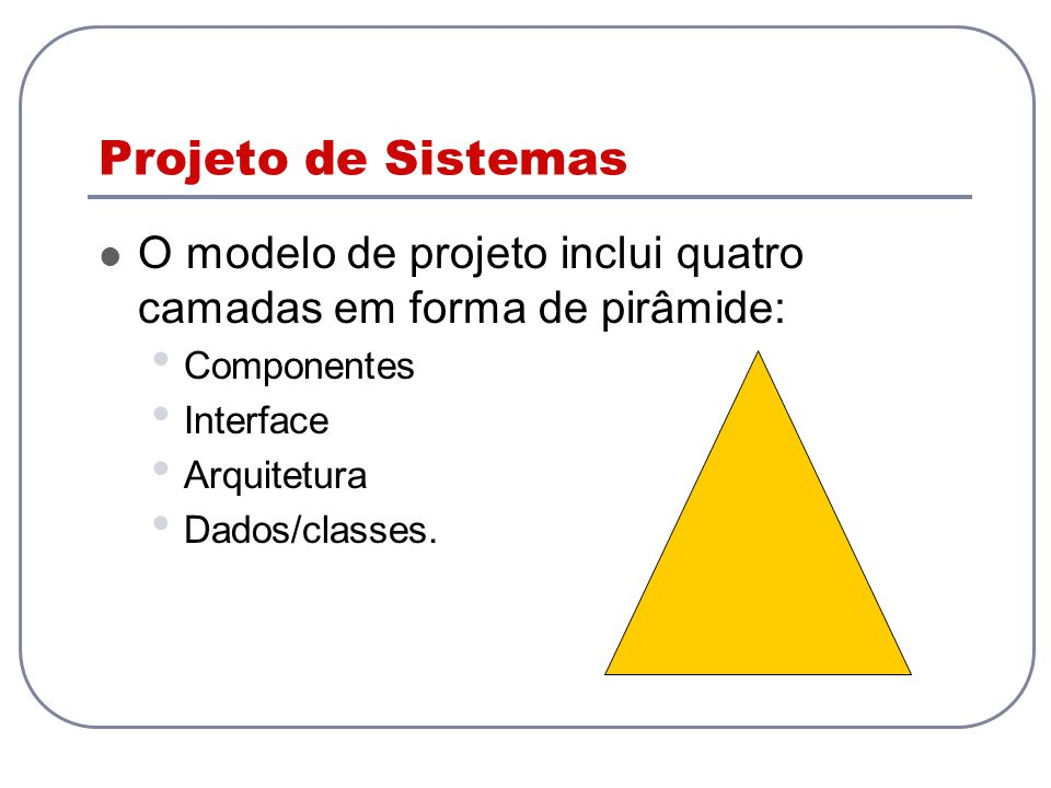 Projeto de SistemasO modelo de projeto inclui quatro camadas em forma de pirâmide: Componentes. Interface.