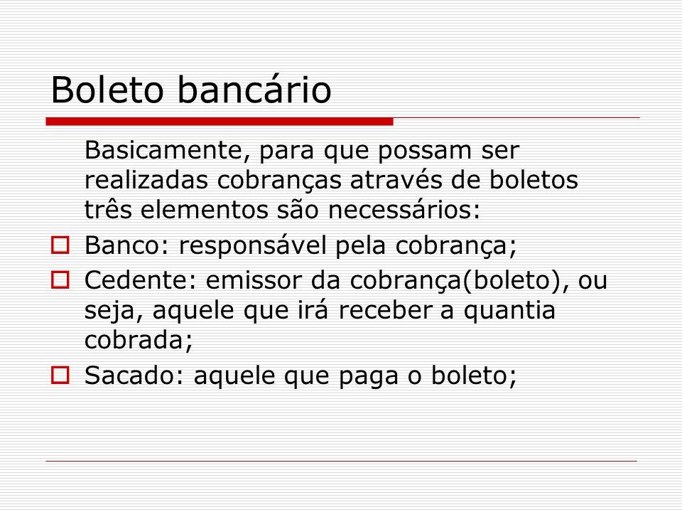 Boleto bancário Basicamente, para que possam ser realizadas cobranças através de boletos três elementos são necessários: