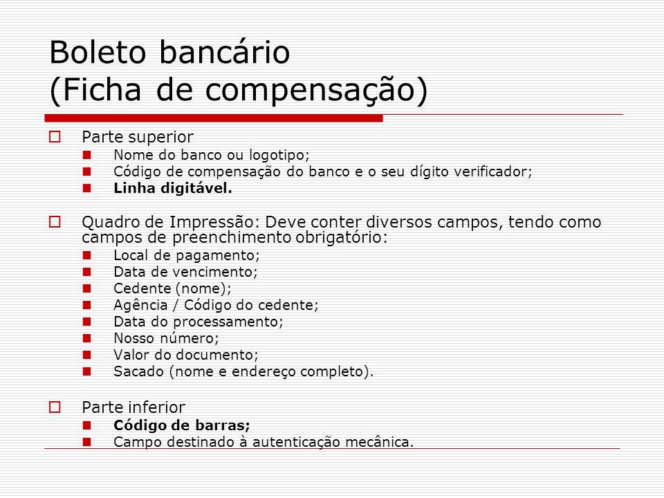 Boleto bancário (Ficha de compensação)