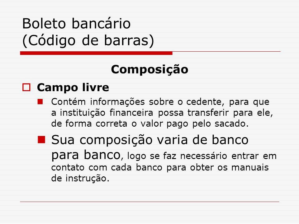 Boleto bancário (Código de barras)
