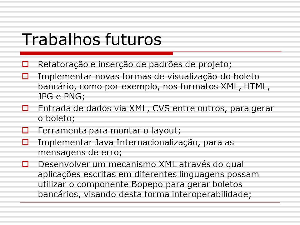 Trabalhos futuros Refatoração e inserção de padrões de projeto;