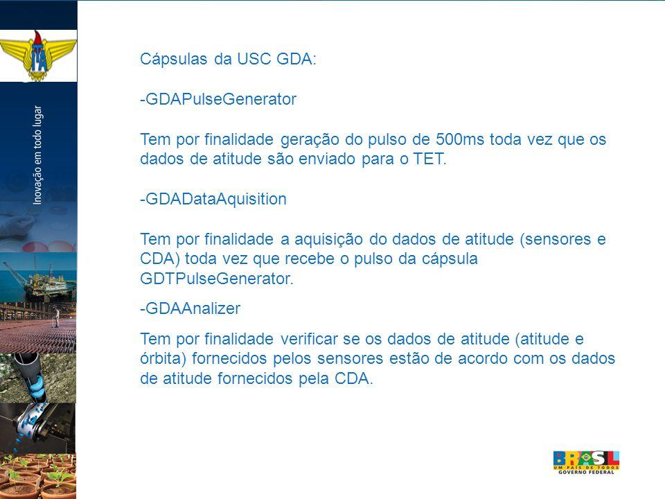 Cápsulas da USC GDA: -GDAPulseGenerator. Tem por finalidade geração do pulso de 500ms toda vez que os dados de atitude são enviado para o TET.
