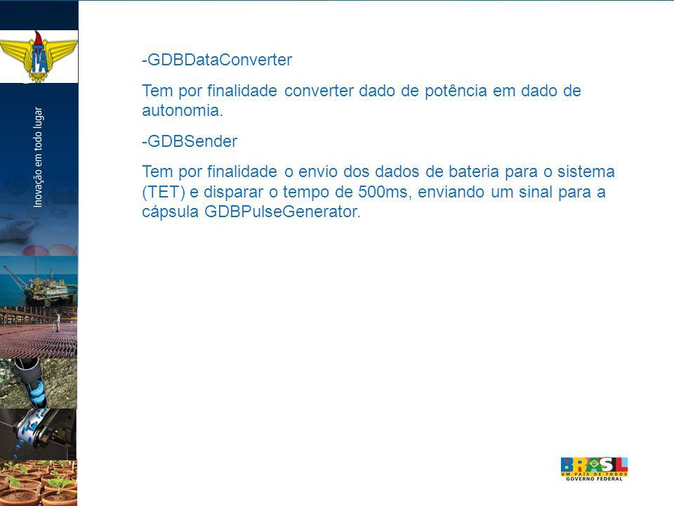 -GDBDataConverter Tem por finalidade converter dado de potência em dado de autonomia. -GDBSender.