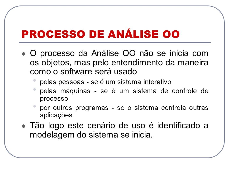 PROCESSO DE ANÁLISE OO O processo da Análise OO não se inicia com os objetos, mas pelo entendimento da maneira como o software será usado.