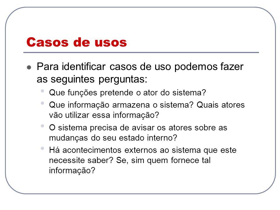 Casos de usos Para identificar casos de uso podemos fazer as seguintes perguntas: Que funções pretende o ator do sistema
