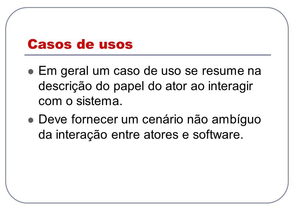 Casos de usos Em geral um caso de uso se resume na descrição do papel do ator ao interagir com o sistema.