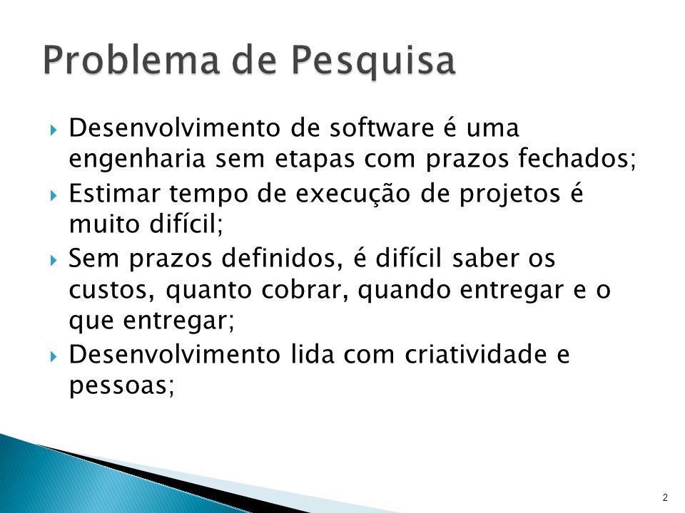 Problema de PesquisaDesenvolvimento de software é uma engenharia sem etapas com prazos fechados;