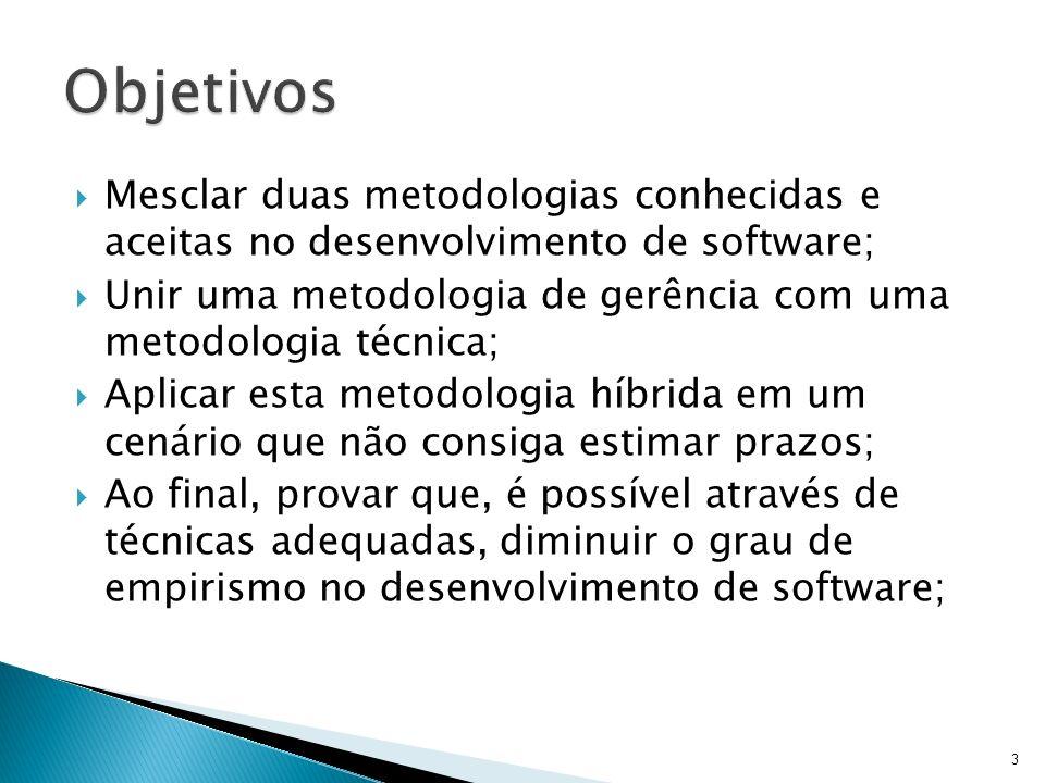 Objetivos Mesclar duas metodologias conhecidas e aceitas no desenvolvimento de software;