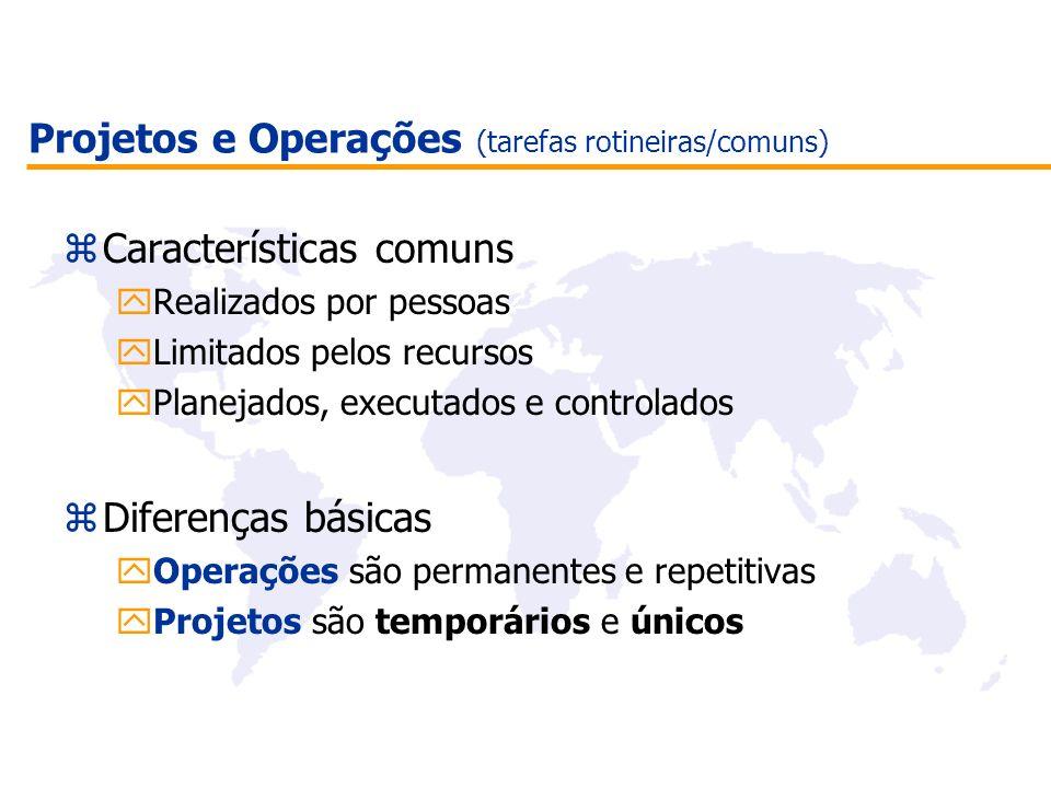 Projetos e Operações (tarefas rotineiras/comuns)