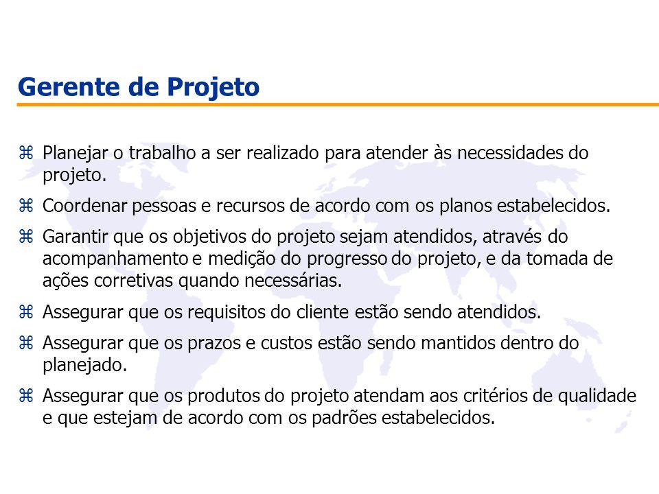 Gerente de Projeto Planejar o trabalho a ser realizado para atender às necessidades do projeto.