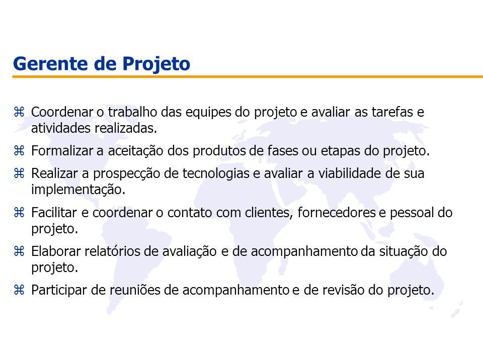Gerente de Projeto Coordenar o trabalho das equipes do projeto e avaliar as tarefas e atividades realizadas.
