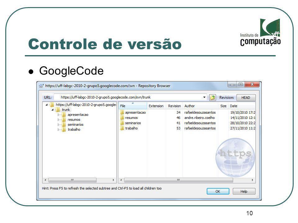 Controle de versão GoogleCode 10 10