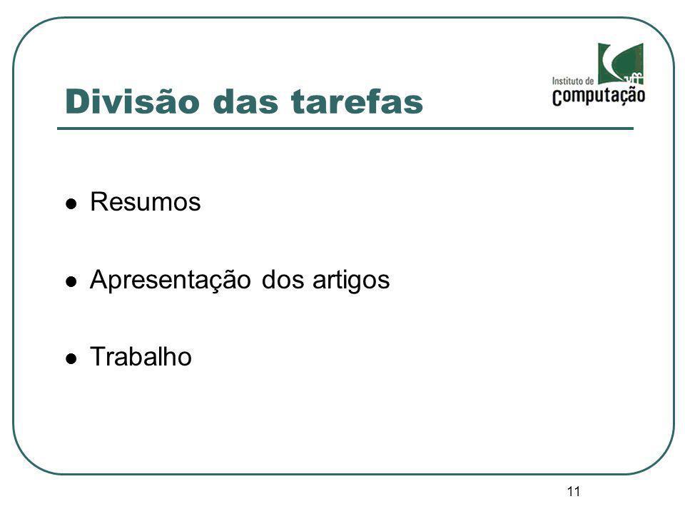 Divisão das tarefas Resumos Apresentação dos artigos Trabalho 11 11