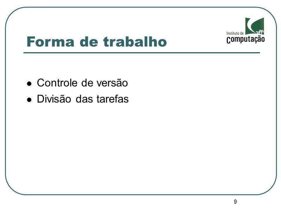 Forma de trabalho Controle de versão Divisão das tarefas 9 9