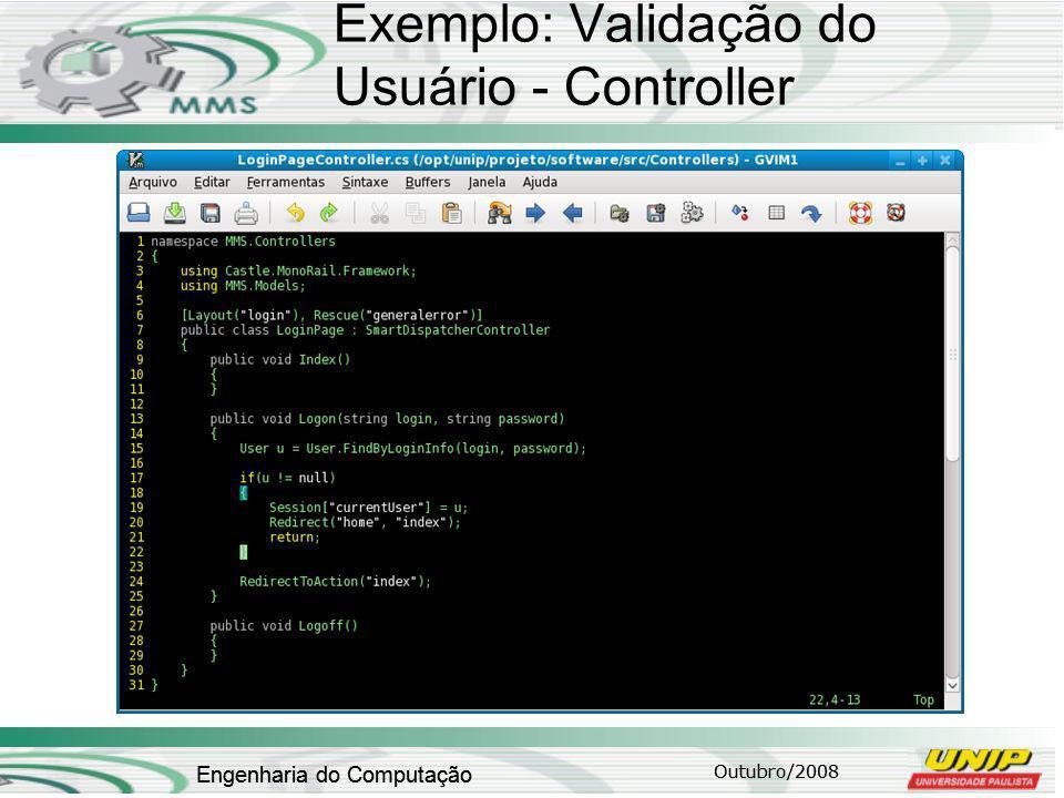 Exemplo: Validação do Usuário - Controller