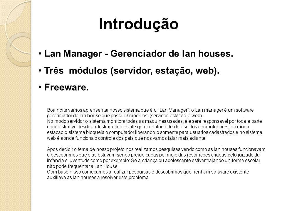 Introdução Lan Manager - Gerenciador de lan houses.