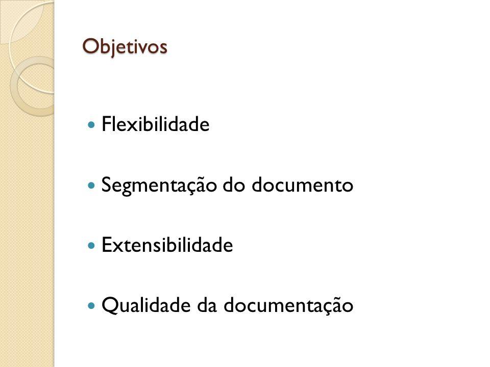Segmentação do documento Extensibilidade Qualidade da documentação