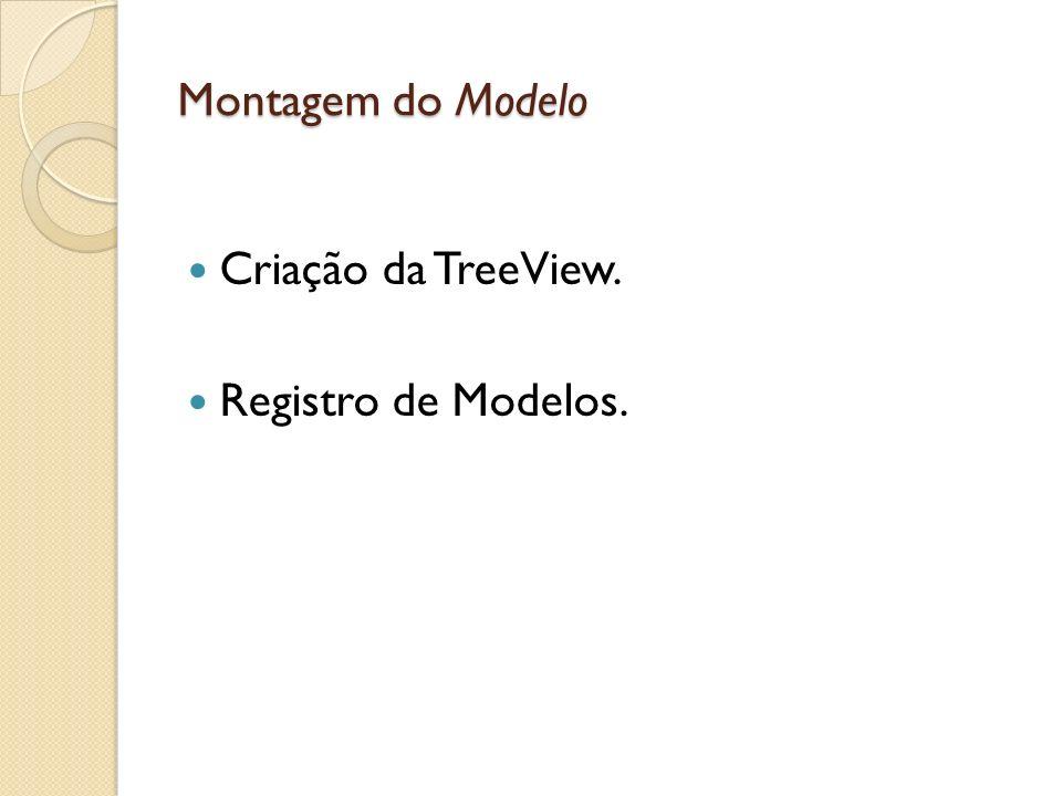 Montagem do Modelo Criação da TreeView. Registro de Modelos.