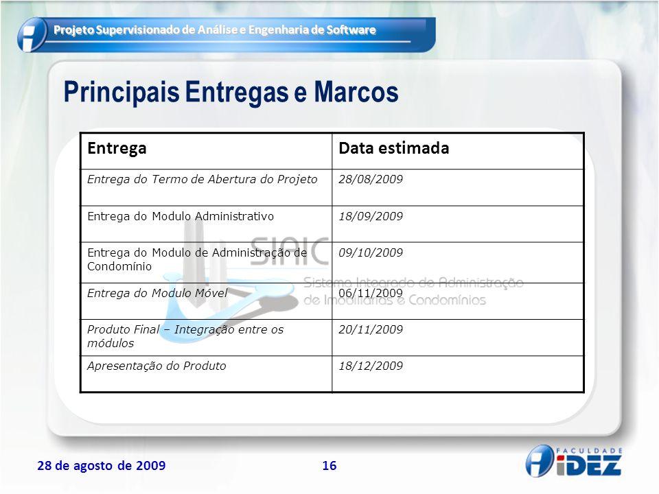 Principais Entregas e Marcos