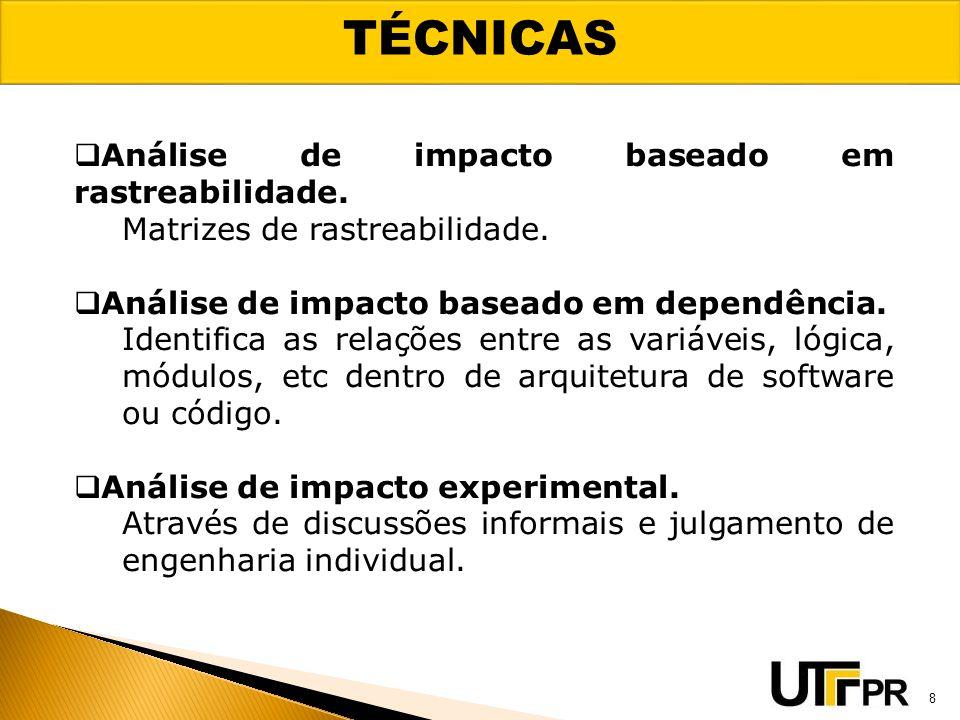 TÉCNICAS Análise de impacto baseado em rastreabilidade.