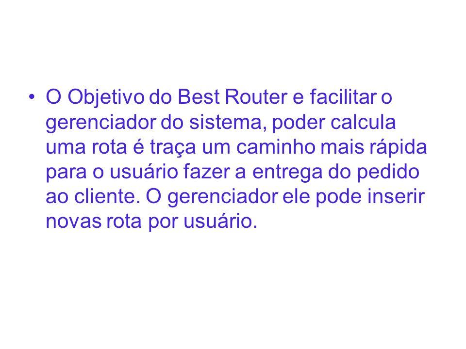 O Objetivo do Best Router e facilitar o gerenciador do sistema, poder calcula uma rota é traça um caminho mais rápida para o usuário fazer a entrega do pedido ao cliente.
