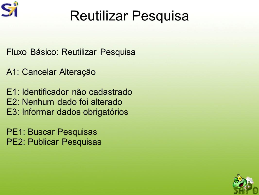 Reutilizar Pesquisa Fluxo Básico: Reutilizar Pesquisa