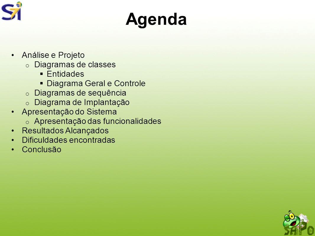 Agenda Análise e Projeto Diagramas de classes Entidades