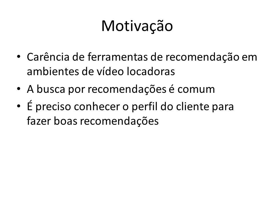 Motivação Carência de ferramentas de recomendação em ambientes de vídeo locadoras. A busca por recomendações é comum.