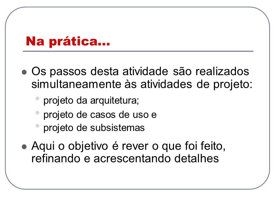 Na prática... Os passos desta atividade são realizados simultaneamente às atividades de projeto: projeto da arquitetura;