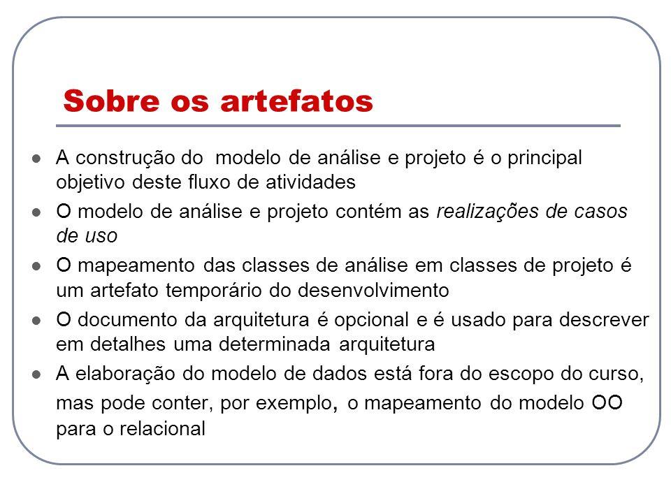 Sobre os artefatos A construção do modelo de análise e projeto é o principal objetivo deste fluxo de atividades.