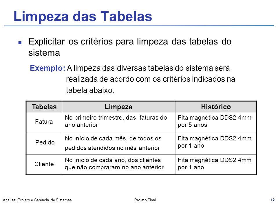 Limpeza das Tabelas Explicitar os critérios para limpeza das tabelas do sistema. Exemplo: A limpeza das diversas tabelas do sistema será.