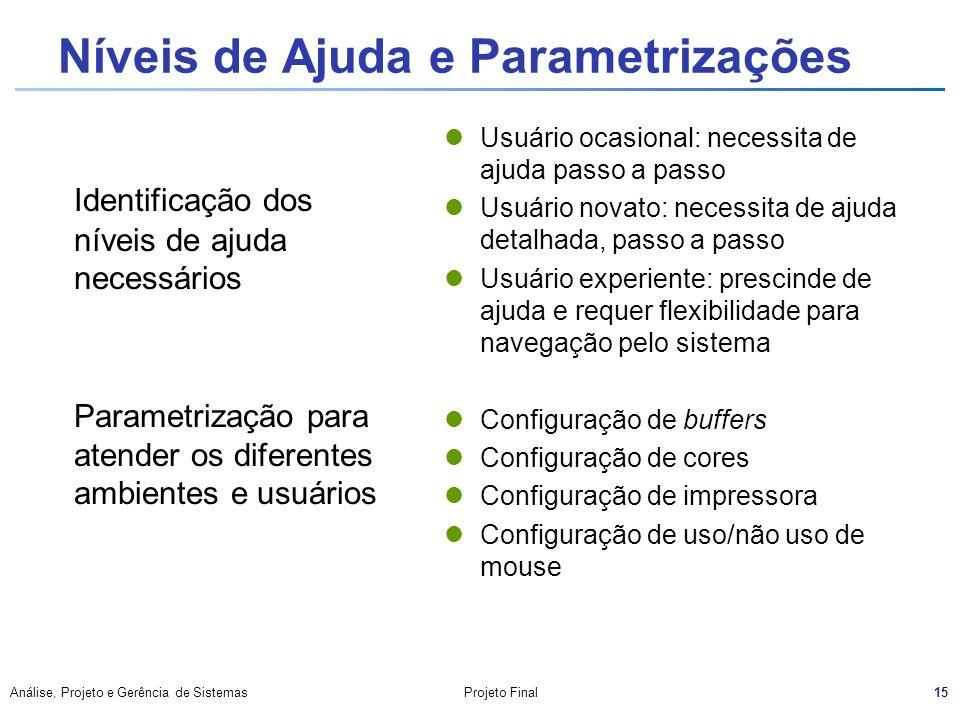 Níveis de Ajuda e Parametrizações