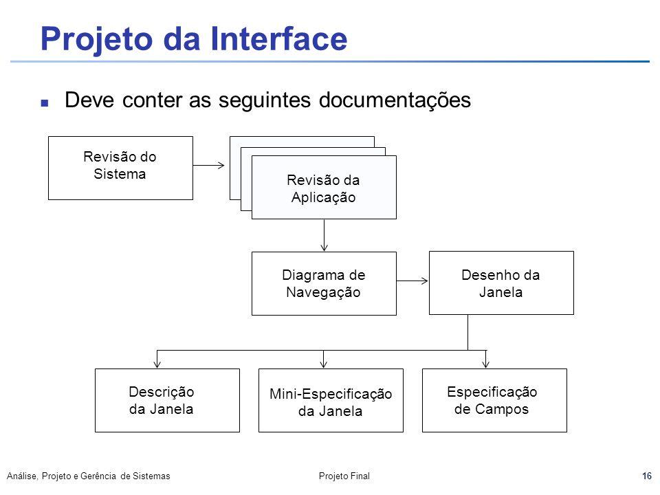 Projeto da Interface Deve conter as seguintes documentações