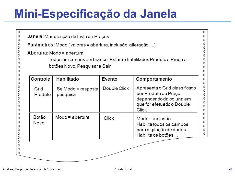 Mini-Especificação da Janela