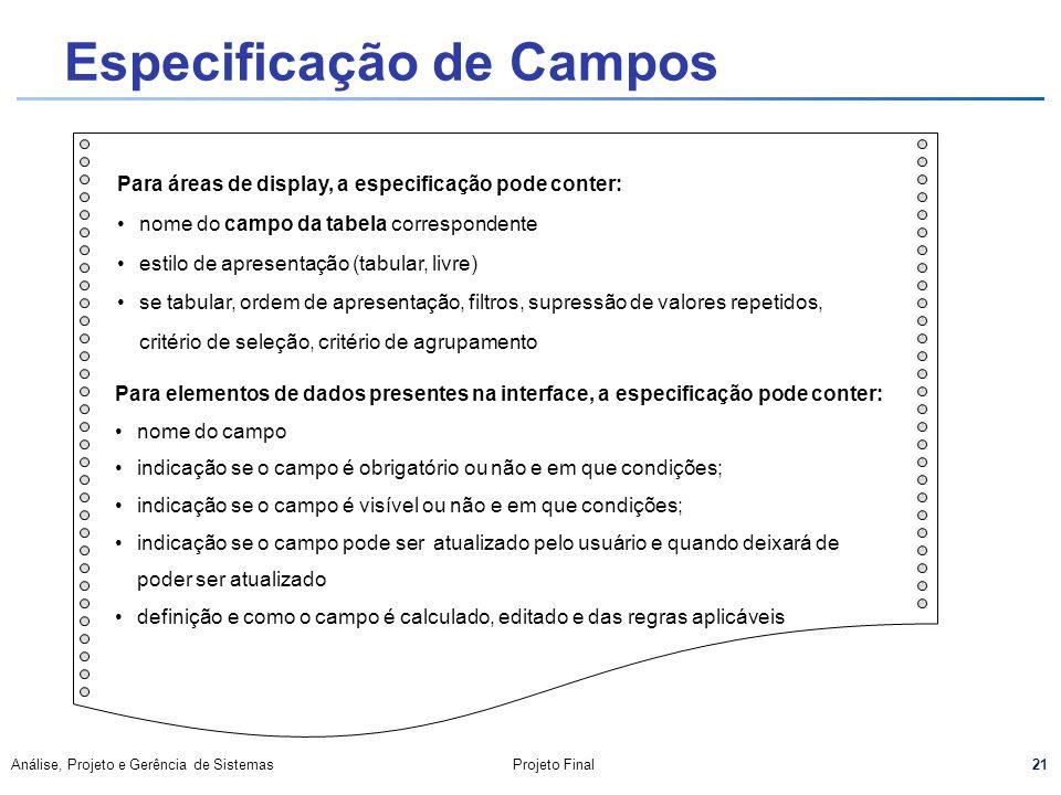 Especificação de Campos